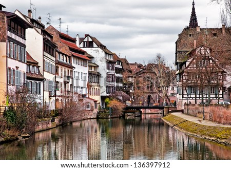 Nice view on the old houses of Strasbourg, France. - stock photo