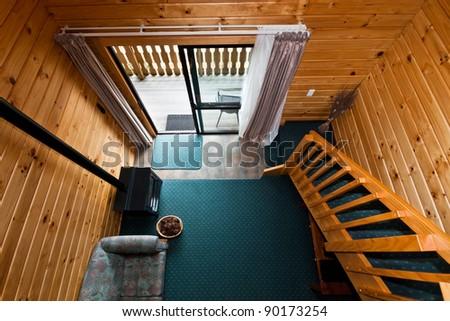 Nice warm interior of mountain lodge apartment. Fox Glacier Lodge, Fox Glacier, West Coast, South Island, New Zealand. - stock photo