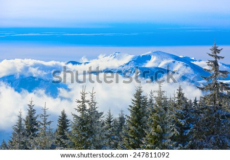 Nice winter landscape in mountains - stock photo