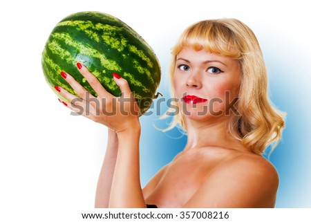 Nice woman keeps big water-melon on white background