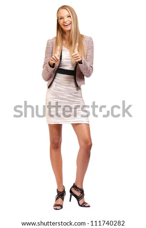 nice woman with thumbs up isolated on white