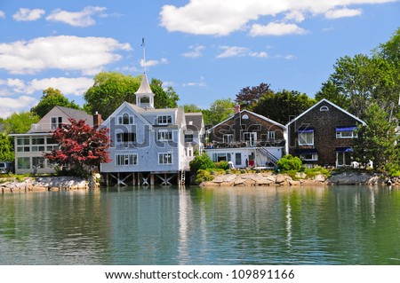 Nice wooden houses in Kennebunkport, Maine, USA - stock photo