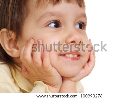 nice young child lie on the floor at the white background - stock photo