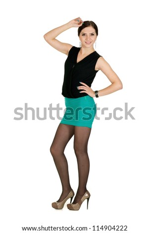 nice young girl on light background - stock photo