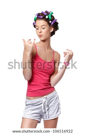nice young woman drying her nails - stock photo