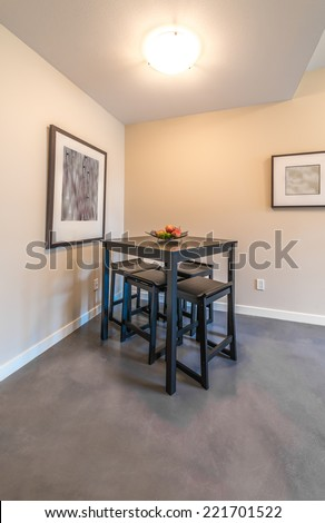 Nicely decorated and served dining, living ( lunch ) room table. Interior design. Vertical.