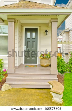 Nicely decorated house entrance - stock photo