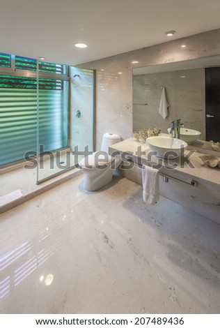 Nicely decorated modern luxury modern washroom. Marble shelf and sink, toilet and bathroom with rain shower head. Interior design. Vertical. - stock photo