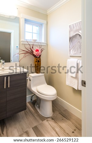 Nicely decorated modern washroom, bathroom with the toilet sit, sink and some flowers in the vase. Interior design. Vertical.