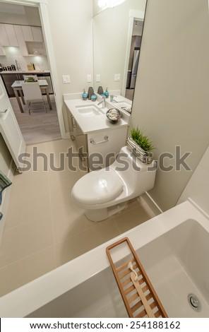 Aluminium step ladder into loft attic stock photo 93369052 - Nicely decorated bathrooms ...