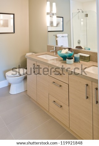 Nicely decorated modern washroom with the sink and the toilet