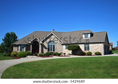 Nicely landscaped home. - stock photo