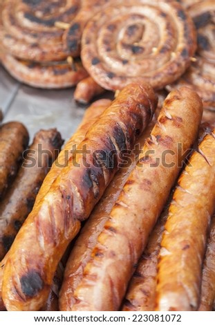 Nicely Sausages grilled on a barbecue - stock photo