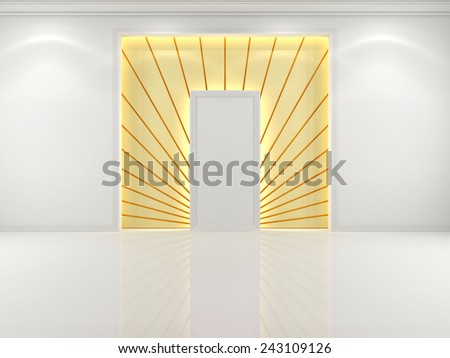 Niche in the wall white with decorative golden rays - stock photo
