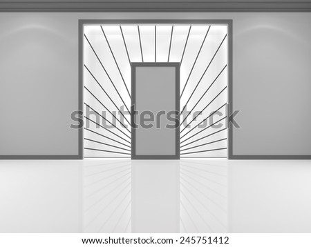 Niche in the wall white with decorative white rays - stock photo