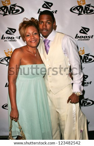 Nick Cannon and his mother Beth Hackett at the birthday party for Nick Cannon and the opening of his flagship store for PNB Nation on October 10, 2006 at PNB Nation Store, Los Angeles, CA.