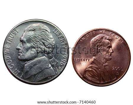 Nickel and a Penny over white - stock photo