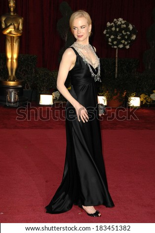 Nicole Kidman, in a Baleciaga dress and L'Wren Scott necklace, at RED CARPET-80th Annual Academy Awards Oscars Ceremony, The Kodak Theatre, Los Angeles, February 24, 2008 - stock photo