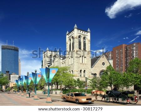 Nicollet Mall street in downtown Minneapolis - stock photo