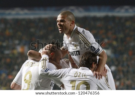 NICOSIA,CYPRUS - MARCH 27: Pepe of Real Madrid during the UEFA Champions League quarter-final match between APOEL and Real Madrid at GSP Stadium on March 27, 2012 in Nicosia, Cyprus. - stock photo