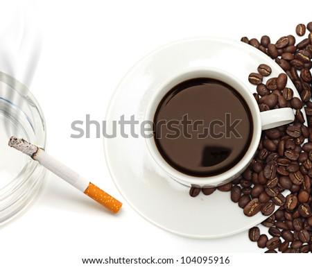Nicotine and caffeine. - stock photo