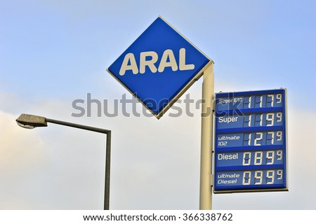 NIEDER-OLM,GERMANY-JAN 22:logo of ARAL on January 22,2016 in Nieder-Olm,Germany.Aral is a brand of automobile fuels and petrol stations, present in Germany and Luxembourg.