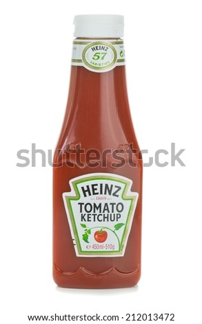 NIEDERSACHSEN, GERMANY AUGUST 20, 2014: A plastic bottle of Heinz Tomato Ketchup Sauce on a white background - stock photo