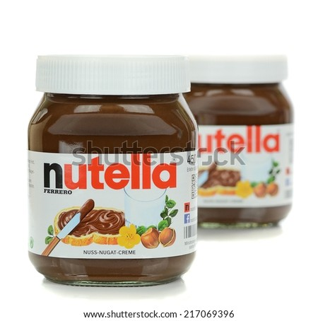NIEDERSACHSEN, GERMANY SEPTEMBER 13, 2014: Two glass jars of Ferrero Nutella chocolate spread on a white background - stock photo