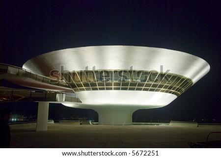 Niemeyer Museum of Contemporary Arts, Night Shot - stock photo