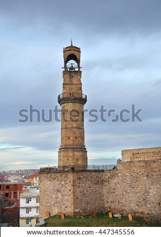 Nigde Castle and watch tower at city of Nigde in Central Anatolia, Turkey. - stock photo