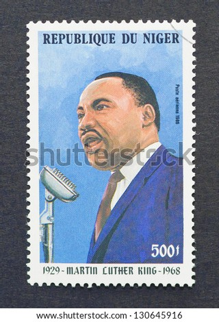 NIGER - CIRCA 1986: a postage stamp printed in Niger showing an image of Nobel Peace prize winner Martin Luther King Jr., circa 1986.