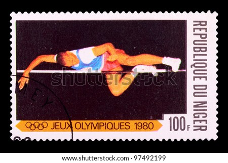 NIGER - CIRCA 1980: stamp printed by NIGER, shows high jump, series Olympic Games in Moscow 1980, circa 1980 - stock photo