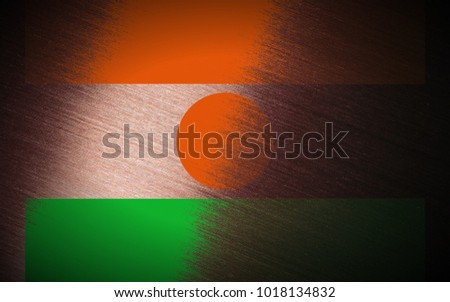 Niger flag painted on pink_brushed_metal texture background