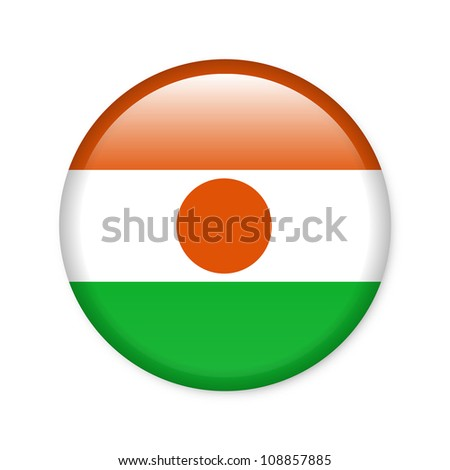 Niger - glossy button with flag