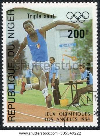 """NIGERIA - CIRCA 1984: a stamp printed in Nigeria shows shows a series of images """"Olympic Games in Los Angeles in 1984"""", circa 1984 - stock photo"""