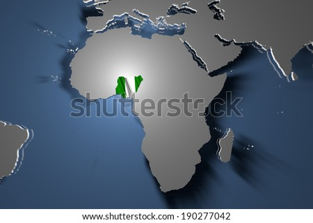 Nigeria Country Map on Continent 3D Illustration - stock photo