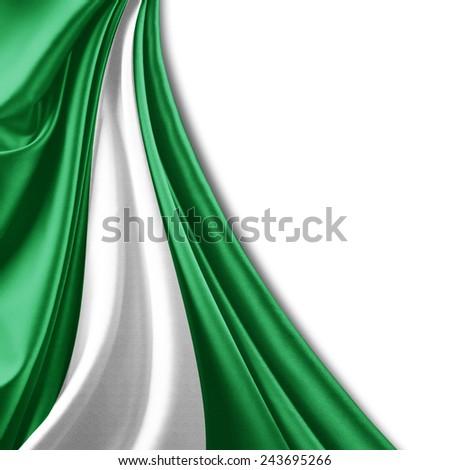 Nigeria flag and white background - stock photo
