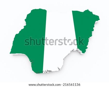 Nigeria flag on 3d map - stock photo