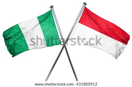 Nigeria flag with Indonesia flag, 3D rendering