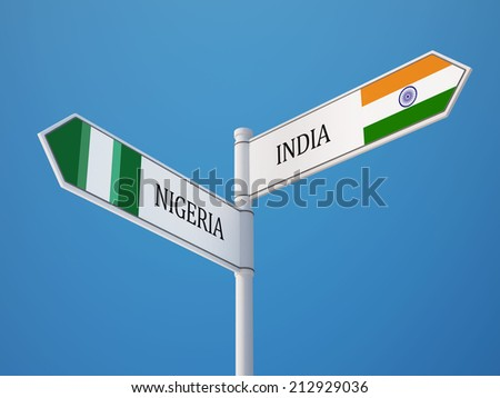 Nigeria  India High Resolution Sign Flags Concept