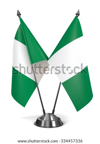 Nigeria - Miniature Flags Isolated on White Background. - stock photo