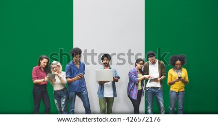 Nigeria National Flag Studying Diversity Students Concept - stock photo