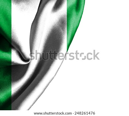 Nigeria waving silky flag isolated on white background - stock photo