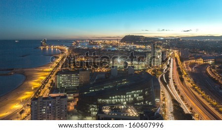 Nighshot of the beach and highway in Barcelona, Spain - stock photo