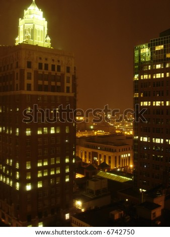 Night above Skyscrapers, Des Moines downtown, Iowa, USA - stock photo