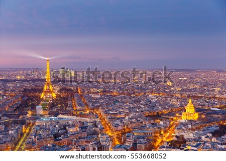 Night aerial panoramic of Paris skyline, France