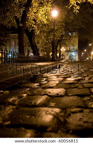 Night after rain in the old city - stock photo