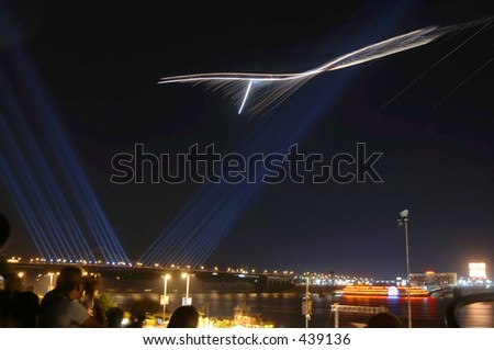 night air show - time exposure - stock photo