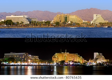 Night and day panoramic view on Eilat (Israel) - stock photo