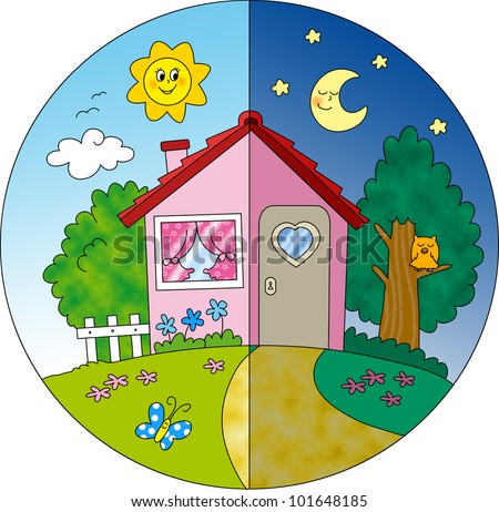 Night Day View Cartoon Country House Stock Illustration ...